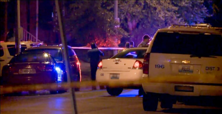 Four people including a police officer were shot Wednesday night in St. Louis.
