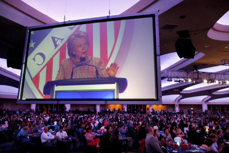 Image: Democratic U.S. presidential candidate Hillary Clinton speaks at the League of United Latin American Citizens (LULAC) during a campaign stop in Washington U.S.