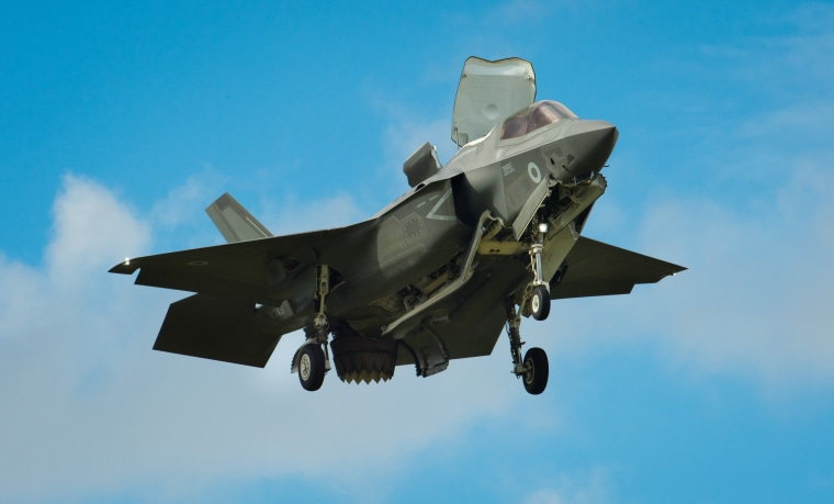 The Pratt & Whitney powered F-35 Lightning II hovers in front of crowds during its first solo appearance at the Farnborough Air Show on Tuesday 12th July 2016