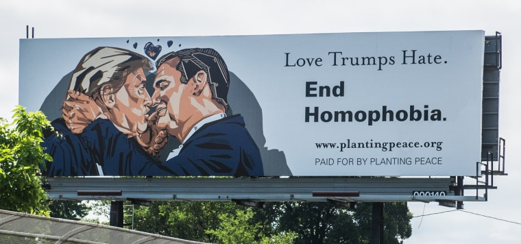A billboard in Cleveland sponsored by the nonprofit group Planting Peace.