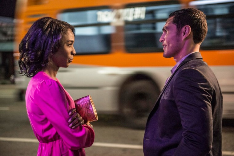 "Paige (Angelica Ross) and James (Christian Ochoa) on ""Her Story."""