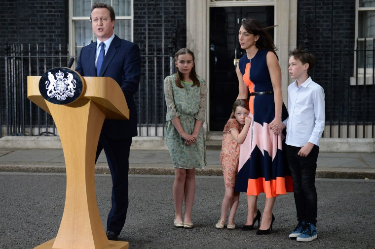 Image: Outgoing British prime minister David Cameron speaks outside 10 Downing Street