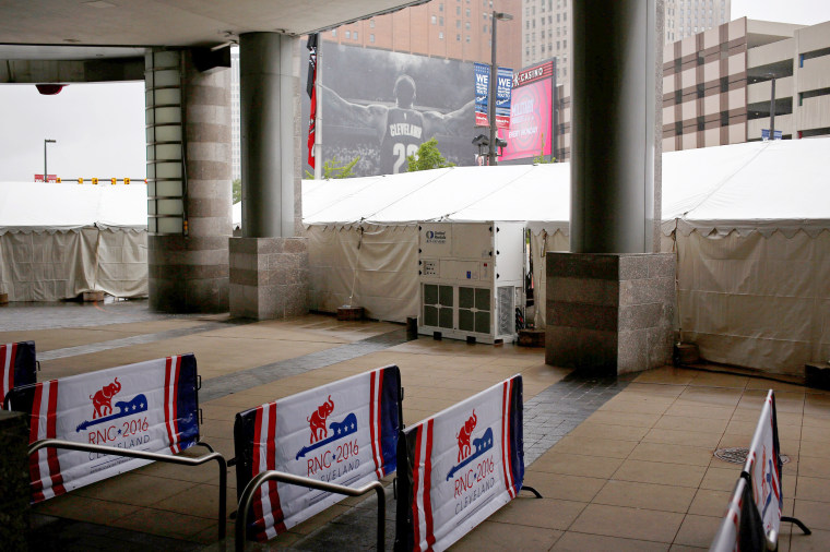 Image: Barricades are seen outside the Quicken Loans Arena as setup continues in advance of the Republican National Convention in Cleveland