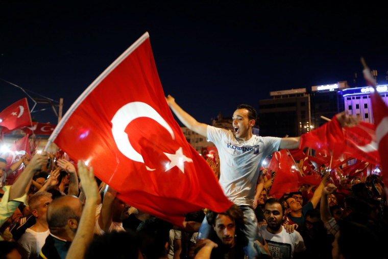 Image: Supporters of Turkish President Tayyip Erdogan gather at Taksim Square in central Istanbul, Turkey