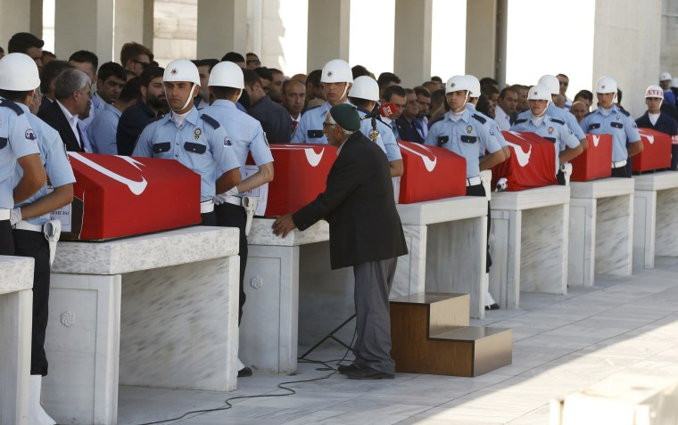 Image: Soldiers guard coffins of victims of the thwarted coup in Ankara