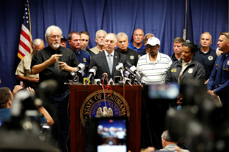 Image: Louisiana Governor John Bel Edwards speaks at a news conference in Baton Rouge, Louisiana