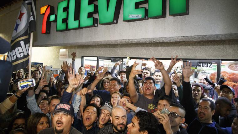 Powerball celebration at winning 7-Eleven store in Chino Hills, California