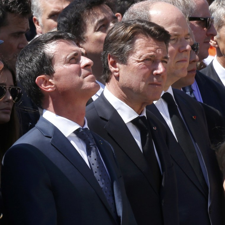 Image: French Prime Minister Manuel Valls, President of the Provence Alpes Cote d'Azur (PACA) region Christian Estrosi and Prince Albert II of Monaco