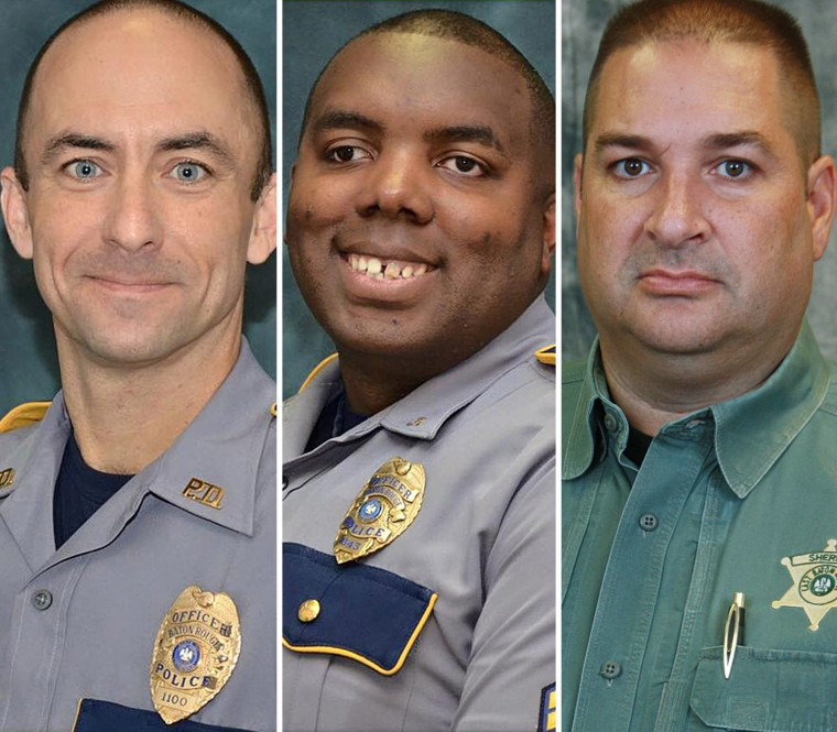 From left, Baton Rouge police officer Matthew Gerald, Montrell Jackson, and East Baton Rouge Deputy Sheriff Brad Garafola
