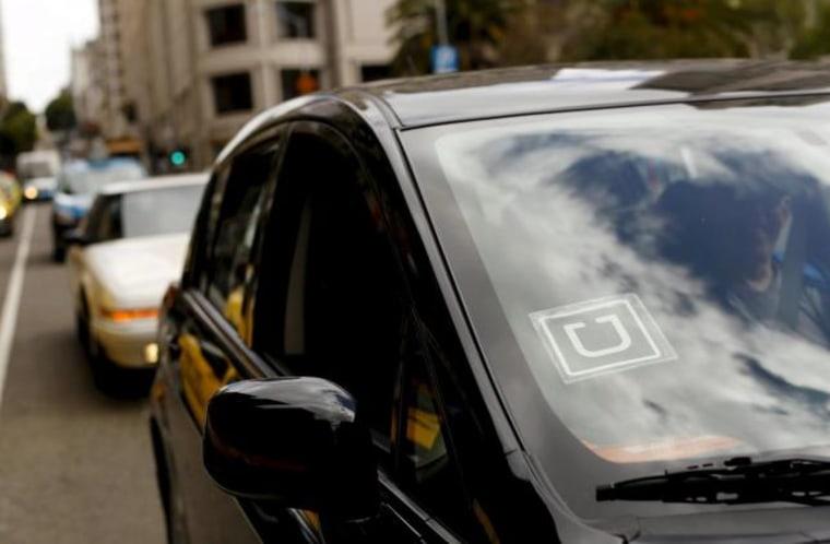 Uber logo on a vehicle near Union Square in San Francisco, California