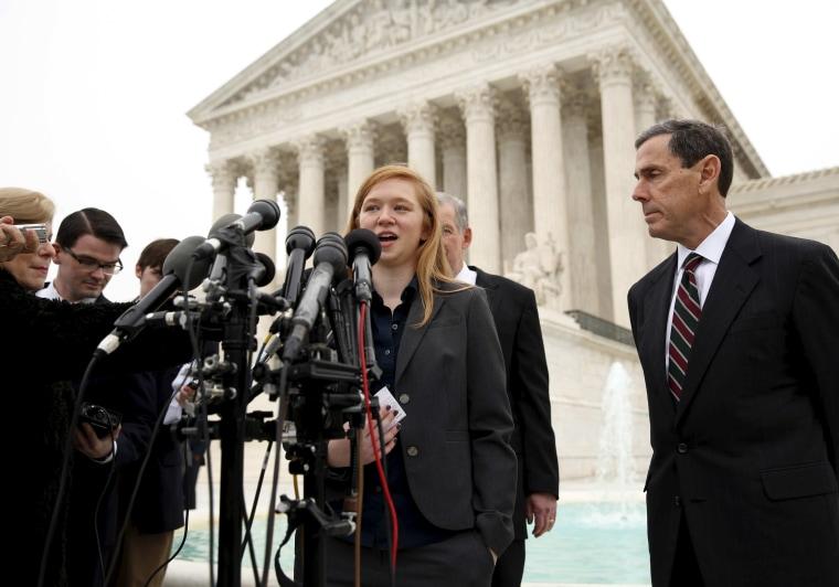 Abigail Fisher, the plaintiff in Fisher v. Texas, speaks outside the U.S. Supreme Court in Washington.