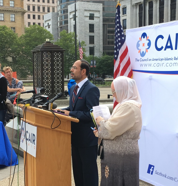 CAIR national executive director Nihad Awad and Julia Shearson, executive director of the Cleveland chapter of CAIR Ohio, at a CAIR press conference.