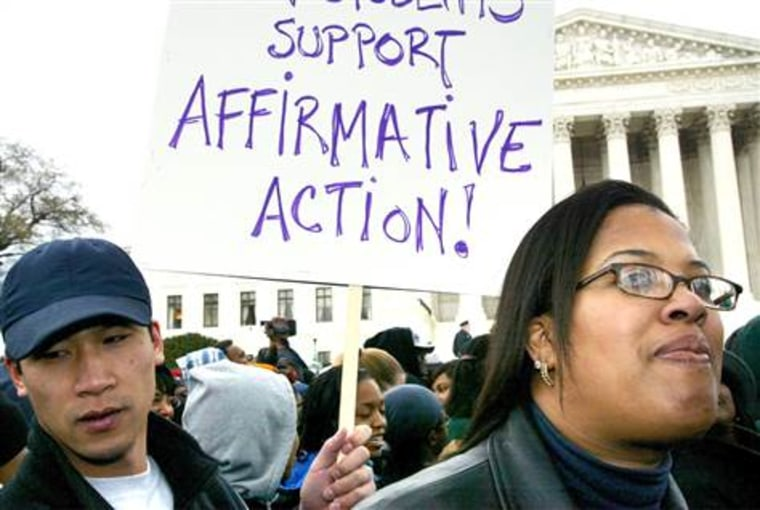Students demonstrate to support affirmative action in universities.
