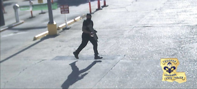 A photo released by the Louisiana State Police shows the gunman who shot six police officers, killing three on Saturday, July 17.
