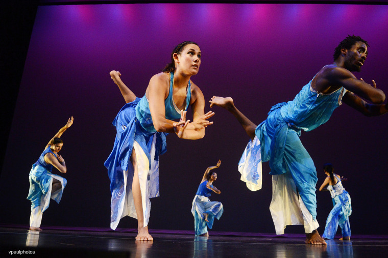 Dancers perform as part of the Ananya Dance Theatre