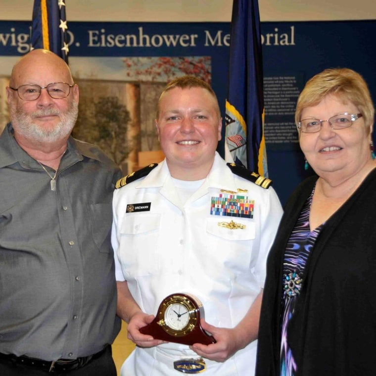 Navy Lieutenant Blake Dremann and parents