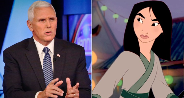 Indiana Governor Mike Pence and Disney's Mulan.