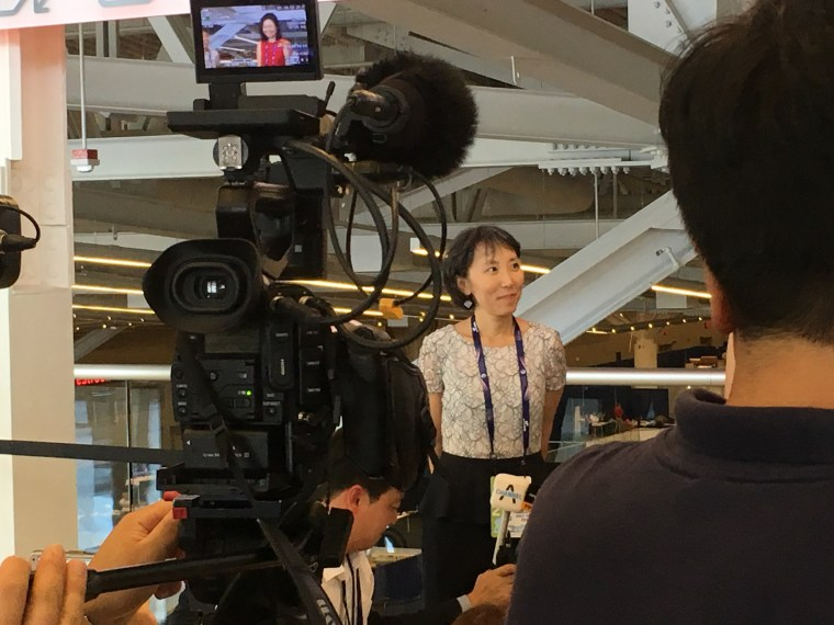 Lisa Shin, a delegate at the Republican National Convention, preparing to be interviewed by Korean-language media.