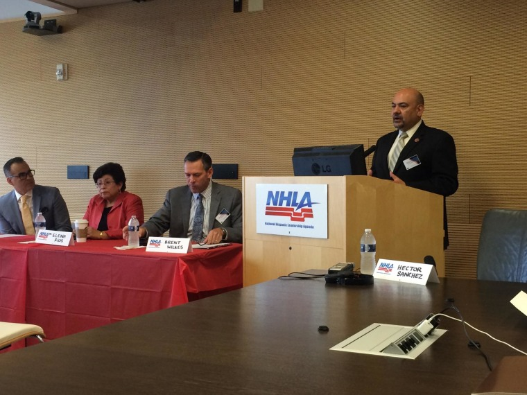 (From right to left) Arturo Vargas, at podium, Brent Wilkes, executive director of LULAC, Dr. Elena Rios, NHMA and Kenneth Romero-Cruz discuss Hispanic leadership agenda.