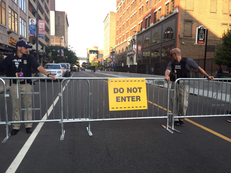 Barricades on Prospect Street in downtown Cleveland.