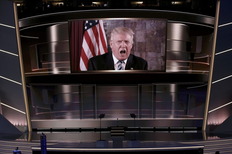 Image: Republican presidential nominee Trump speaks live via satellite during the second session at the Republican National Convention in Cleveland