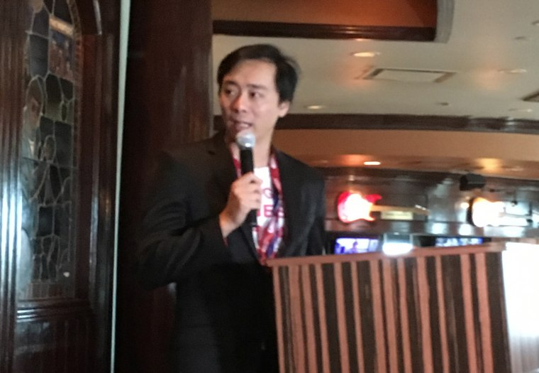 Tian Wang, who helped found the Chinese Americans for Trump group, speaking at an Republican National Convention event.