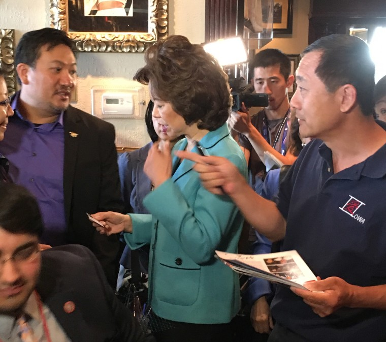 Former United States Secretary of Labor Elaine Chao speaks to attendees at an Asian-American leadership meeting after her on-stage remarks.