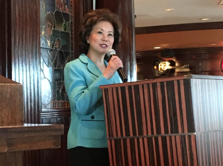 Former US Secretary of Labor Elaine Chao speaking at a Republican National Convention leadership breakfast.