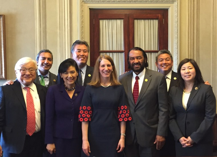Rep. Mark Takai and CAPAC members with HHS Secretary Sylvia Mathews Burwell