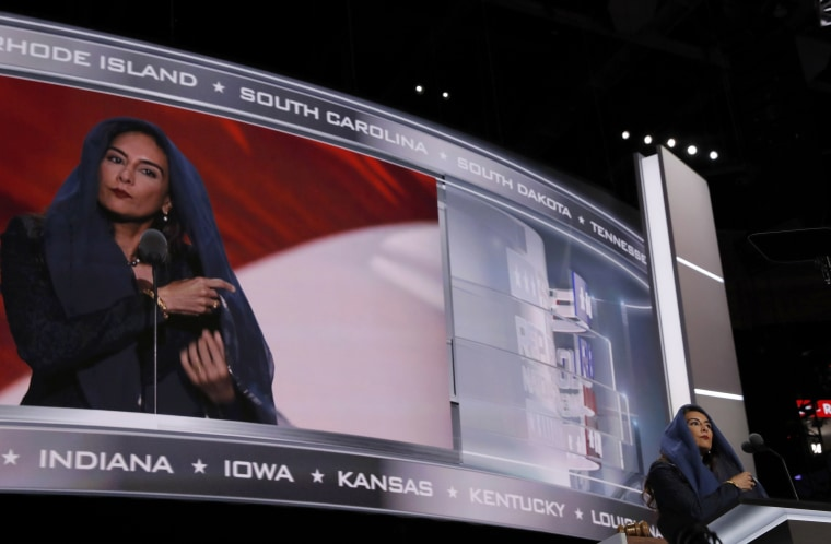 Image: Indian-born Sikh Republican activist Harmeet Dhillon adjusts her scarf as she prepares to deliver the invocation at the Republican National Convention in Cleveland