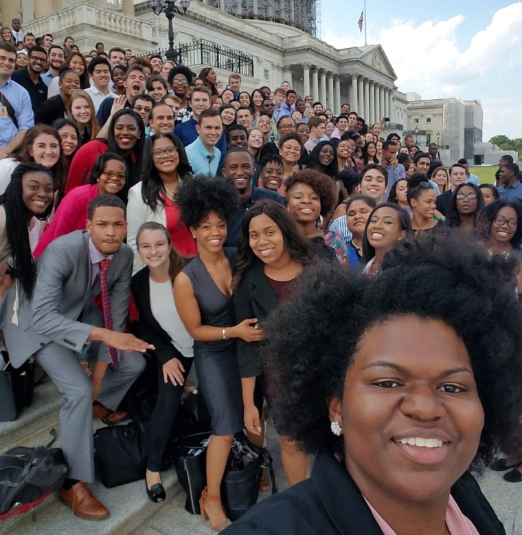 Audra Jackson snapped this selfie with other Democratic House interns on the steps of the Capitol.