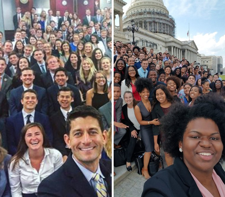 House Speaker Paul Ryan poses with Republican interns, left, and House Democratic interns pose and the steps of the Capitol.