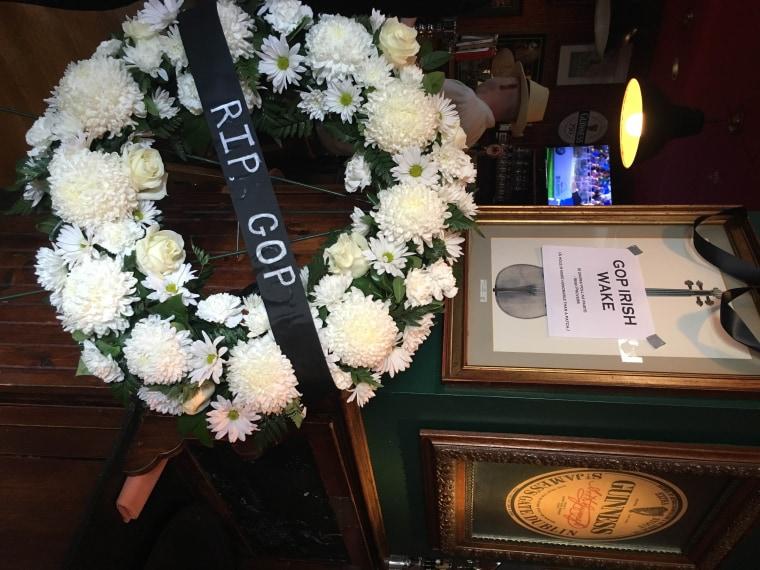 A 'funeral wreath' at Dubliner's Bar in Washington, D.C.