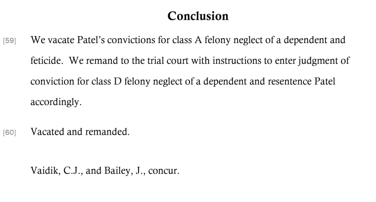 An excerpt of a decision by the Indiana Court of Appeals revoking the 2015 feticide conviction of Purvi Patel.