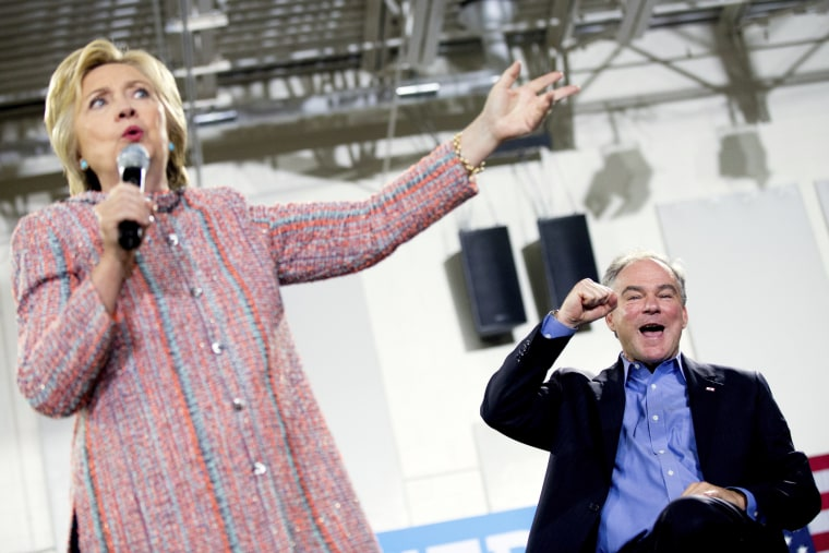 Democratic presidential candidate Hillary Clinton, accompanied by Sen. Tim Kaine