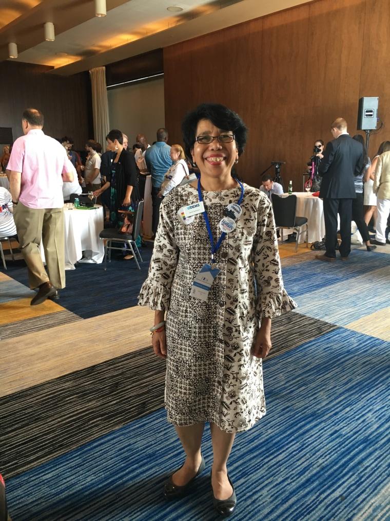 Dewita Soeharjono, chair of Democratic Asian Americans for Virginia, arriving in Philadelphia for the 2016 Democratic National Convention.