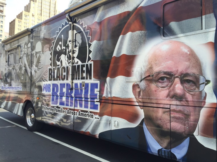"""""""Black Men For Bernie"""" have gathered in Philadelphia for the Democratic National Convention."""