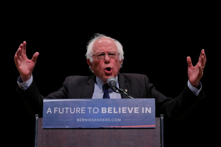 Image: U.S. Democratic presidential candidate Bernie Sanders speaks during a rally in the Manhattan borough of New York