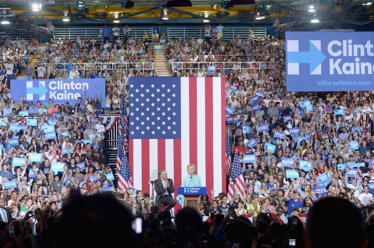 Democratic presidential candidate Hillary Clinton and Democratic introducing her vice presidential candidate U.S. Sen. Tim Kaine.