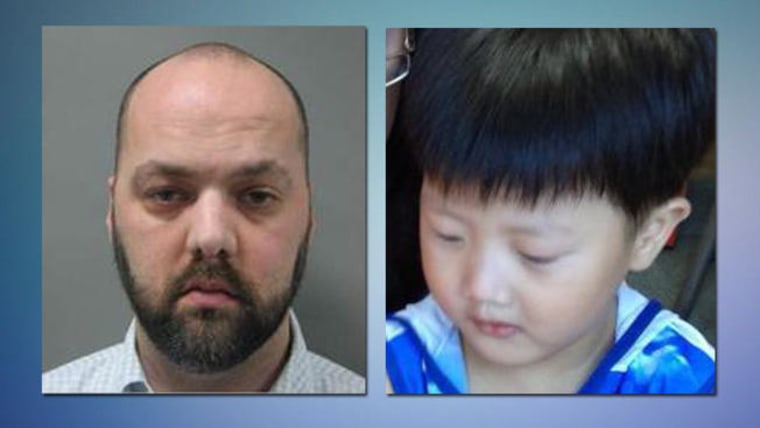 Brian Patrick O'Callaghan, 36, has been sentenced in the death of his adopted son, right.