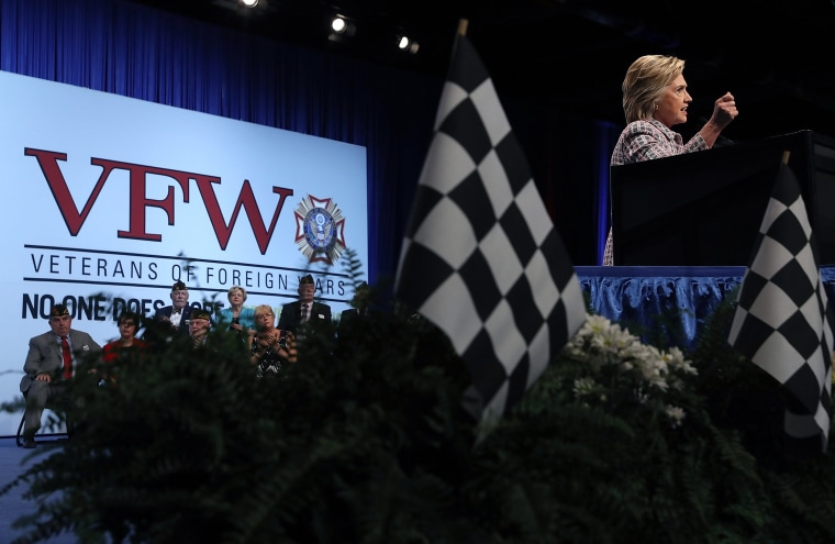 Image: Democratic Presidential Candidate Hillary Clinton Speaks At VFW Convention In Charlotte, North Carolina