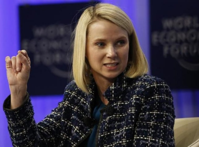 Mayer Chief Executive Officer of Yahoo speaks during a session at the World Economic Forum (WEF) in Davos
