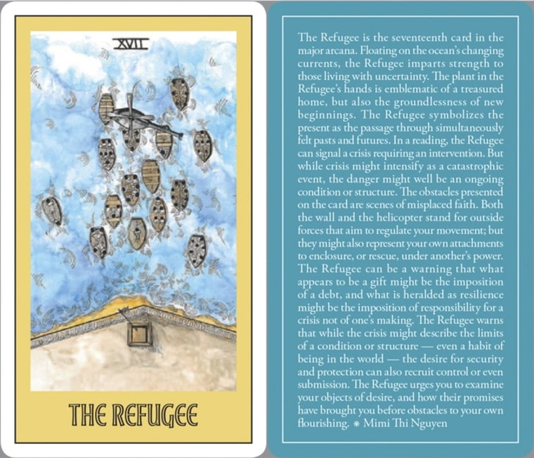 """The Refugee, one of the tarot cards included in """"Open in Emergency,"""" with art by Simi Kang and text by Mimi Thi Nguyen."""