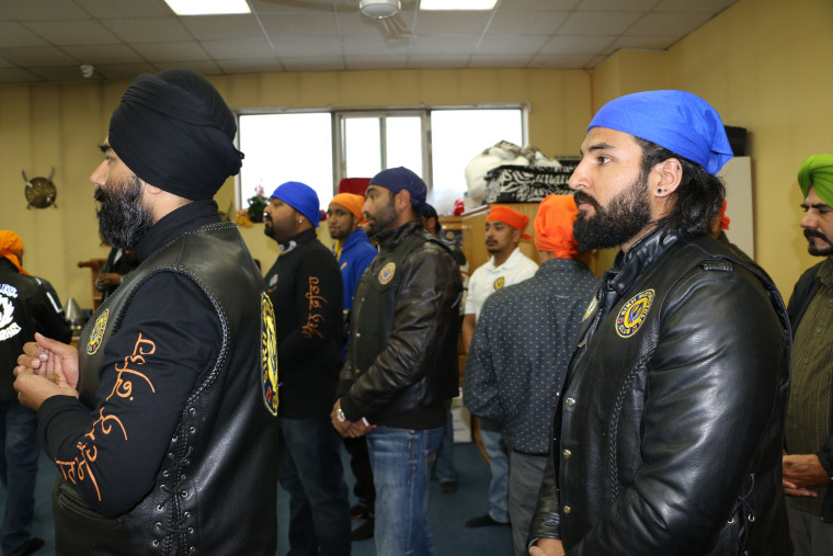 Members of the Sikh Motorcycle Club.