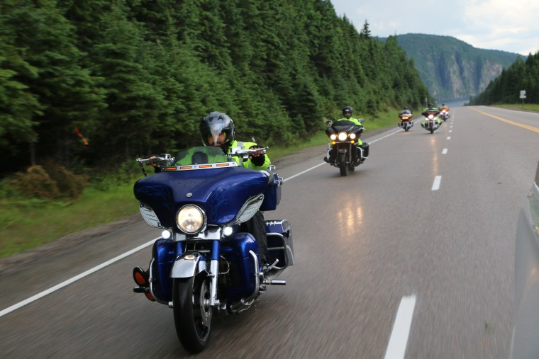 Members of the Sikh Motorcycle Club ride through a cross country trip for charity.