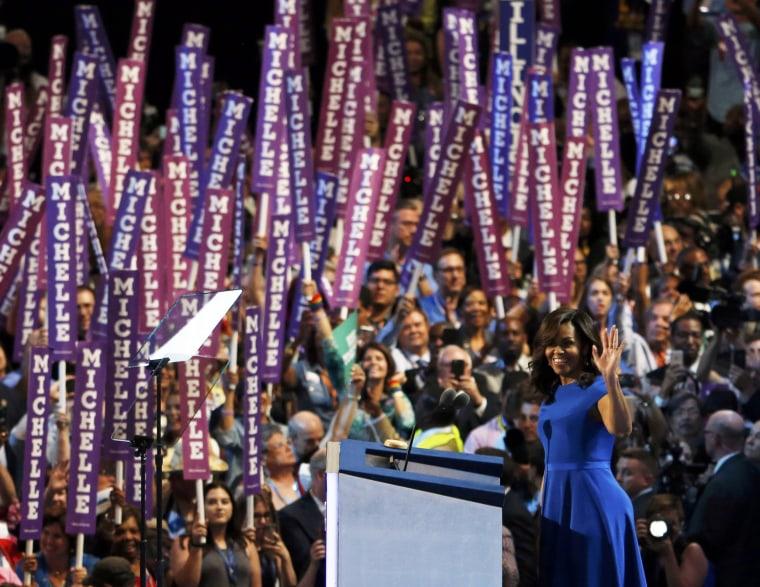 Image: Michelle Obama addresses the Democratic National Convention in Philadelphia
