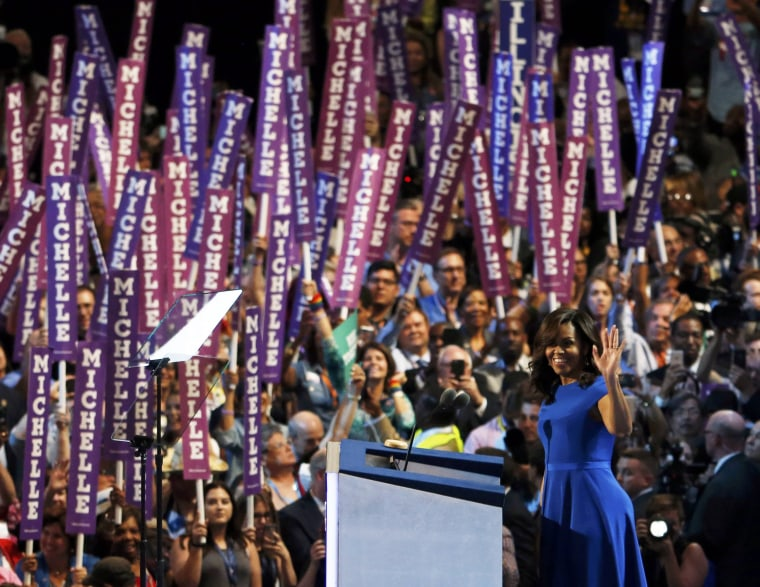 Image: Michelle Obama addresses the Democratic National Convention in Philadelphia