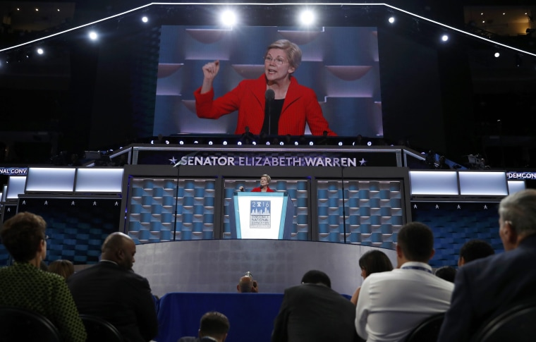 Image: U.S. Senator Elizabeth Warren speaks during the first session at the Democratic National Convention in Philadelphia