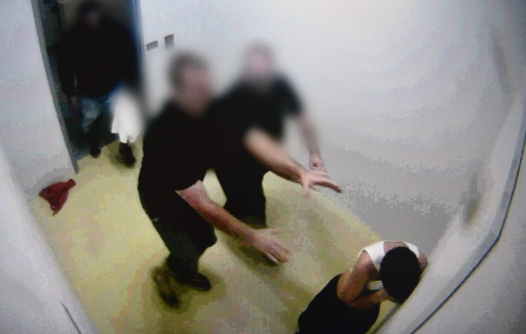 Australia Prison Guards Taped Strapping Half-Naked Hooded Boy To Chair-1003