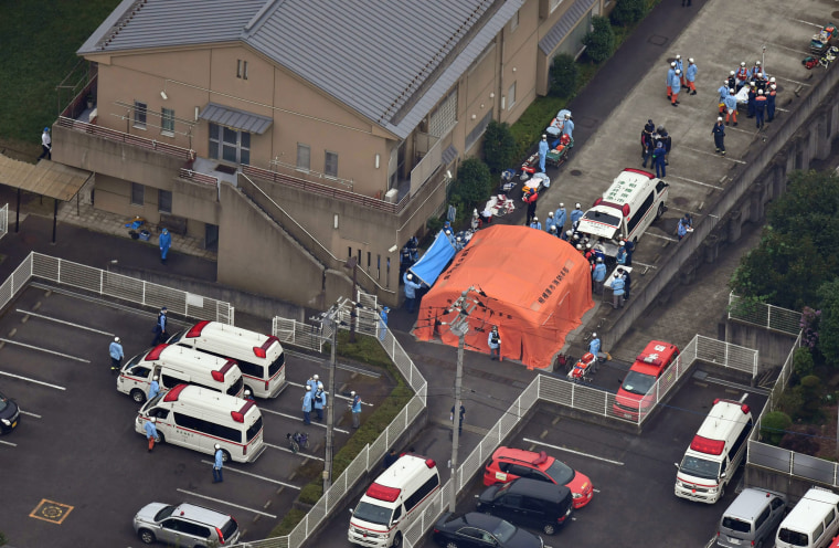 Image: An aerial view shows emergency members at a residential care facility